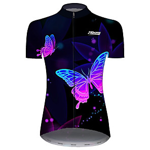 cheap Cycling Jerseys-21Grams Women's Short Sleeve Cycling Jersey Black / Blue Butterfly Bike Jersey Top Mountain Bike MTB Road Bike Cycling UV Resistant Breathable Quick Dry Sports Clothing Apparel / Stretchy / Race Fit
