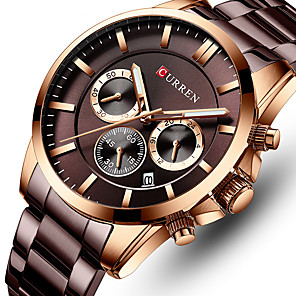 cheap Quartz Watches-CURREN Men's Steel Band Watches Japanese Quartz Stylish Stainless Steel Black / Silver / Gold 30 m Water Resistant / Waterproof Calendar / date / day Chronograph Analog Fashion - Gold Silver Black