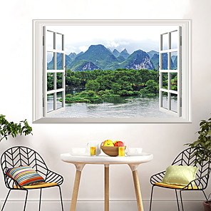 cheap Wall Stickers-Landscape / Floral / Botanical Wall Stickers 3D Wall Stickers Decorative Wall Stickers, PVC Home Decoration Wall Decal Wall / Window Decoration 5pcs / 1pc