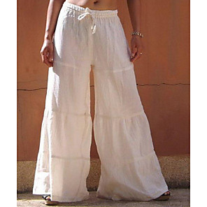 cheap Hair Jewelry-Women's Basic Loose Cotton Wide Leg Pants - Solid Colored White Black Blue S / M / L