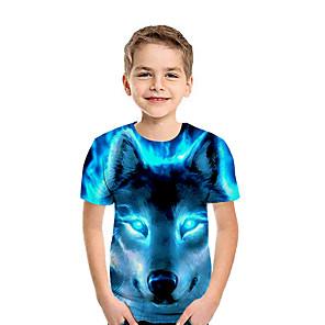 cheap Synthetic Trendy Wigs-Kids Boys' Basic 3D Short Sleeve Tee Rainbow
