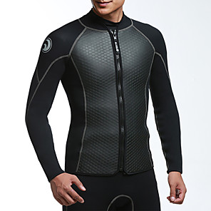 cheap Wetsuits, Diving Suits & Rash Guard Shirts-HISEA® Men's Wetsuit Jacket 2.5mm SBR Neoprene Top Thermal / Warm Long Sleeve Front Zip - Swimming Diving Patchwork Autumn / Fall Spring Winter
