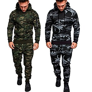 cheap Tattoo Stickers-Men's 2-Piece Tracksuit Sweatsuit Jogging Suit Casual Long Sleeve Thermal / Warm Breathable Moisture Wicking Fitness Running Active Training Jogging Sportswear Outfit Set Clothing Suit Hoodie Dark