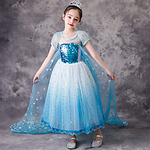 cheap Movie & TV Theme Costumes-Princess Elsa Dress Flower Girl Dress Girls' Movie Cosplay A-Line Slip Blue Dress Children's Day Masquerade Tulle Cotton