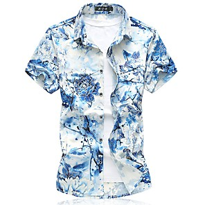 cheap Projectors-Men's Shirt Geometric Print Tops Business Tropical Classic Collar Blue Red Green / Short Sleeve