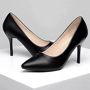 cheap Women's Heels-Women's Heels Stiletto Heel Pointed Toe Faux Leather Spring & Summer Black