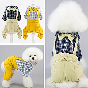 cheap Dog Clothes-Dog Jumpsuit Winter Dog Clothes Yellow Beige Costume Cotton Polka Dot Fashion XS S M L XL XXL