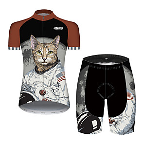 cheap Cycling Jersey & Shorts / Pants Sets-21Grams Women's Short Sleeve Cycling Jersey with Shorts Black / White Cat Animal American / USA Bike Clothing Suit Breathable Quick Dry Ultraviolet Resistant Sweat-wicking Sports Cat Mountain Bike