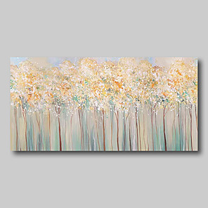 cheap Floral/Botanical Paintings-Oil Painting Hand Painted Abstract Comtemporary Modern Stretched Canvas Blossoms Trees With Stretched Frame