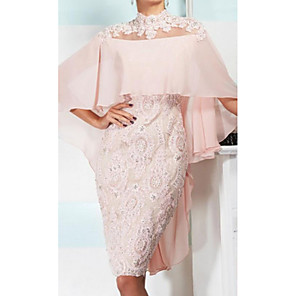 cheap Wedding Wraps-Sheath / Column Mother of the Bride Dress Elegant Sexy High Neck Knee Length Chiffon Lace 3/4 Length Sleeve with Appliques 2020