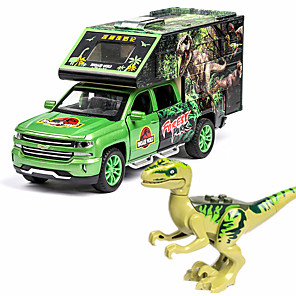 cheap Toy Cars-1:32 Toy Car Animals Action Figure Jurassic Dinosaur Tyrannosaurus Rex Transporter Truck Truck DIY Music & Light Pull Back Vehicles Rubber ABS+PC Alloy Mini Car Vehicles Toys for Party Favor or Kids