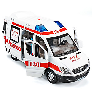 cheap Toy Cars-1:32 Toy Car Model Car Ambulance Vehicle Music & Light Pull Back Vehicles Metal Alloy Mini Car Vehicles Toys for Party Favor or Kids Birthday Gift 1 pcs