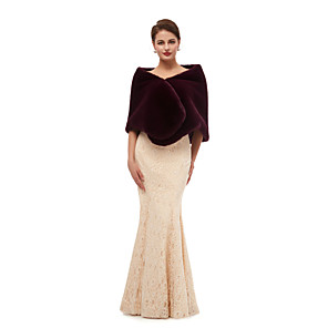 cheap Wedding Wraps-Sleeveless Shawls Faux Fur Party / Evening Shawl & Wrap / Women's Wrap With Button