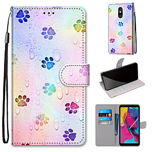 cheap Other Phone Case-Case For Motorola Moto G8 Play / Moto G8 Plus / MOTO E6 plus Wallet / Card Holder / with Stand Full Body Cases Footprints PU Leather / TPU for MOTO E6 Play / MOTO G7 / MOTO G7 Plus