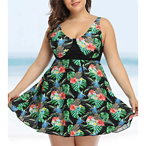 cheap Wetsuits, Diving Suits & Rash Guard Shirts-Women's Slim Bikini Swimwear Swimsuit Bathing Suits - Floral Black Purple XL XXL XXXL