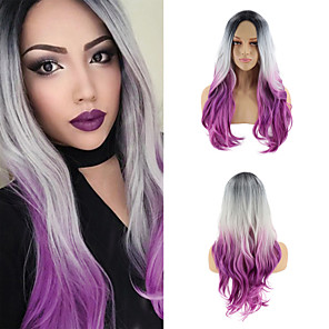 cheap Synthetic Trendy Wigs-Synthetic Wig Cosplay Wig Curly Wavy Matte Halloween Christmas Middle Part Wig Long Ombre Purple Synthetic Hair 26inch Women's Cosplay Soft Adjustable Purple / Heat Resistant / African American Wig