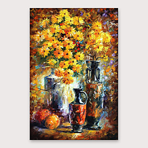 cheap Abstract Paintings-IARTS®Hand Painted Chrysanthemums vie for beauty  Oil Painting   with Stretched Frame For Home Decoration
