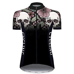 cheap Cycling Jerseys-21Grams Women's Short Sleeve Cycling Jersey Black / White Skull Floral Botanical Bike Jersey Top Mountain Bike MTB Road Bike Cycling UV Resistant Breathable Quick Dry Sports Clothing Apparel