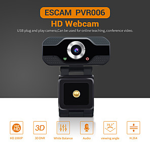 cheap CCTV Cameras-ESCAM PVR006 HD 1080P Webcam 2 mp USB2.0 Web Camera Wide Compatibility Auto Focus Computer Laptop Webcams Camera  90° Degree Wide Angle Business Conference Webcam With Noise Reduction Microphone
