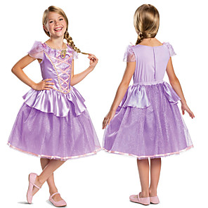 cheap Movie & TV Theme Costumes-Princess Rapunzel Dress Flower Girl Dress Girls' Movie Cosplay A-Line Slip Cosplay Purple Dress Halloween Carnival Masquerade Tulle Polyester