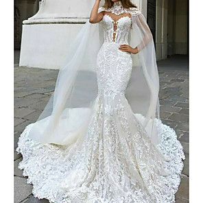 cheap Floral/Botanical Paintings-Mermaid / Trumpet Wedding Dresses V Neck Court Train Lace Sleeveless Country Plus Size with Lace Buttons Embroidery 2020