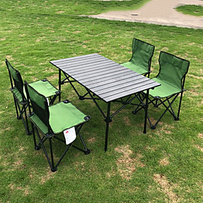 cheap Curtains Drapes-Outdoor Aluminum Alloy Folding Table And Chair Set Multi-person Folding Table And Chair Barbecue Camping Self-driving Equipment Set Of Chairs