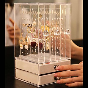 cheap Jewelry & Cosmetic Storage-Trays Transparent Acrylic Luxury Jewelry Display Box Layers Drawers Dustproof Acrylic Ear Clip Ear Nail Earrings Storage Box 24.5X13.5X13CM