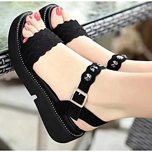 cheap Women's Heels-Women's Sandals Creepers Open Toe PU Summer Black
