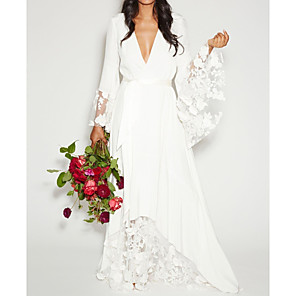 cheap Latin Dancewear-A-Line Wedding Dresses Plunging Neck Sweep / Brush Train Polyester Long Sleeve Casual Plus Size with Sashes / Ribbons Lace Insert Appliques 2020