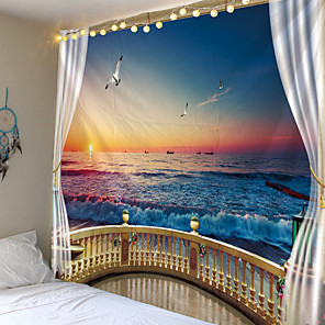 cheap Wall Tapestries-Strand Buiten Het Raam Gedrukt Tapestry Goedkope Hippie Muur Opknoping Bohemian Wandtapijten Mandala Muur Art Deco