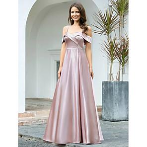 cheap Latin Dancewear-A-Line Empire Pink Wedding Guest Prom Dress Spaghetti Strap Short Sleeve Floor Length Satin Polyester with Sleek 2020