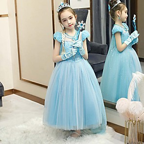 cheap Movie & TV Theme Costumes-Princess Elsa Dress Flower Girl Dress Girls' Movie Cosplay A-Line Slip Cosplay Light Blue Dress Halloween Carnival Masquerade Tulle Polyester Sequin