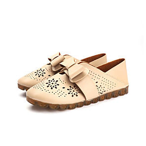 hesapli Kadın Düz Ayakkabıları ve Makosenleri-Kadın's Mokasen & Bağcıksız Ayakkabılar Düz Taban Yuvarlak Uçlu Fiyonk PU Tatlı İlkbahar & Kış Açık Kahverengi / Beyaz / Siyah