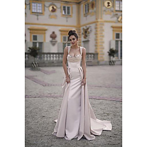 cheap Clutches & Evening Bags-A-Line Elegant Formal Evening Dress Scoop Neck Sleeveless Sweep / Brush Train Satin with Ruched 2020