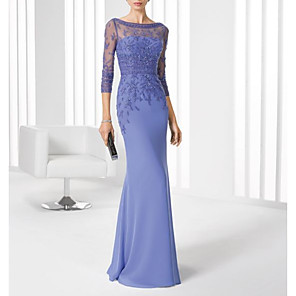 cheap Wall Stickers-Mermaid / Trumpet Mother of the Bride Dress Elegant Illusion Neck Floor Length Chiffon 3/4 Length Sleeve with Lace 2020