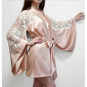cheap Women's Boots-Women's Lace Suits Nightwear Solid Colored Blushing Pink S M L