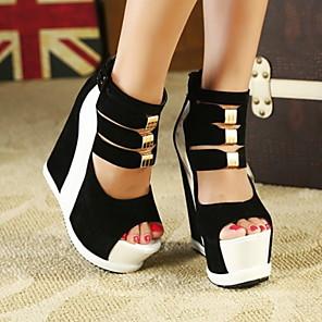 cheap Women's Sandals-Women's Sandals Wedge Heel Round Toe PU Summer Red / White