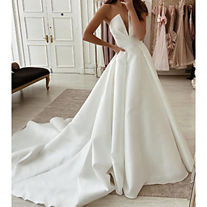 cheap Wedding Dresses-A-Line Wedding Dresses Strapless Sweep / Brush Train Stretch Satin Sleeveless Country Plus Size with Side-Draped 2020