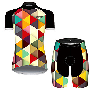 cheap Cycling Jersey & Shorts / Pants Sets-21Grams Women's Short Sleeve Cycling Jersey with Shorts Black / Yellow Plaid / Checkered Patchwork Geometic Bike Clothing Suit Breathable Quick Dry Ultraviolet Resistant Sweat-wicking Sports Plaid