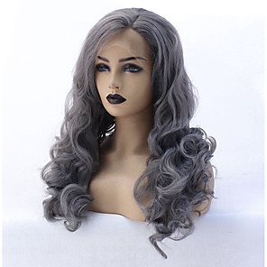 cheap Synthetic Lace Wigs-Synthetic Lace Front Wig Water Wave Water Wave Lace Front Wig Medium Length Long Grey Synthetic Hair Women's Heat Resistant Natural Hairline Gray