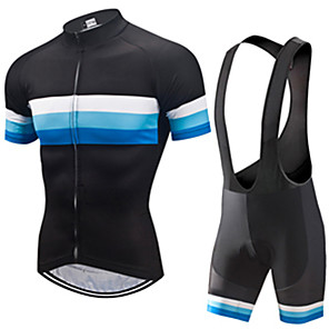cheap MP3 player-21Grams Men's Short Sleeve Cycling Jersey with Bib Shorts Black / Blue Patchwork Bike Clothing Suit UV Resistant Breathable 3D Pad Quick Dry Sweat-wicking Sports Solid Color Mountain Bike MTB Road