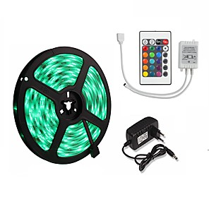 cheap LED Strip Lights-5M 16.4ft LED Light Strips RGB Tiktok Lights 5050 300 leds 10mm Strips Lighting Flexible Color Changing with 24 Key IR Remote Ideal for Home Kitchen Christmas TV Back Lights DC 12V