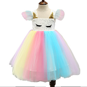 cheap Movie & TV Theme Costumes-Unicorn Dress Flower Girl Dress Girls' Movie Cosplay A-Line Slip Cosplay Fuchsia Dress Halloween Carnival Masquerade Tulle Polyester