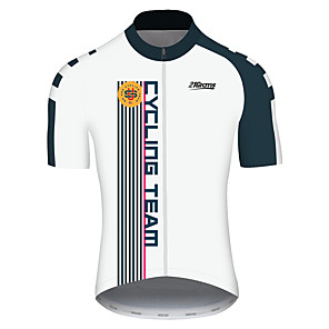 cheap Cycling Jerseys-21Grams Men's Short Sleeve Cycling Jersey Black / White Stripes American / USA National Flag Bike Jersey Top Mountain Bike MTB Road Bike Cycling UV Resistant Breathable Quick Dry Sports Clothing