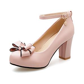 cheap Women's Heels-Women's Heels Chunky Heel Round Toe Bowknot PU Chinoiserie / British Fall / Spring & Summer Pink / White / Black / Party & Evening
