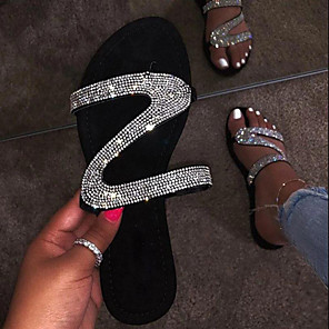 cheap Wedding Shoes-Women's Sandals Boho / Beach Flat Sandals Summer Flat Heel Round Toe Casual Sexy Daily Rhinestone Solid Colored PU Black / Pink / Green