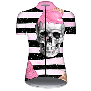 cheap Cycling Jerseys-21Grams Women's Short Sleeve Cycling Jersey Black / White Stripes Novelty Skull Bike Jersey Top Mountain Bike MTB Road Bike Cycling UV Resistant Breathable Quick Dry Sports Clothing Apparel
