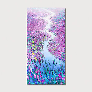 cheap Floral/Botanical Paintings-Hand Painted Canvas Oilpainting Abstract Landscape by Knife Home Decoration with Frame Painting Ready to Hang