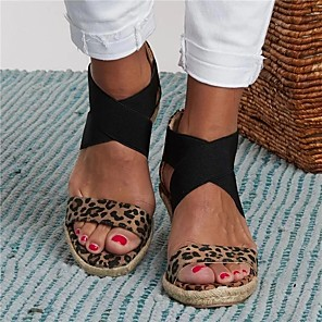 cheap Women's Sandals-Women's Sandals Wedge Sandals Summer Wedge Heel Open Toe Casual Daily Leopard Faux Leather Walking Shoes Almond / White / Black / Animal Print