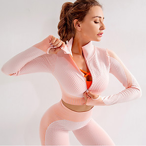 cheap Wetsuits, Diving Suits & Rash Guard Shirts-Women's Daily / Casual Basic / Sports Spring / Fall Regular Jacket, Solid Color / Solid Colored Stand Long Sleeve Polyester Zipper / Print / Color Block Dusty Rose / Green